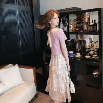 Fashion suit Summer 2021 S M L XL Pink top + Skirt yellow top + skirt 18-25 years old Fan Ersha d1004 Polyester 100% Pure e-commerce (online only)