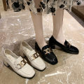 Low top shoes 35 36 37 38 39 Zhihe Black half size, beige half size Square head PU Thick heel High heel (5-8cm) Deep mouth PU Spring 2021 Trochanter Korean version Youth (18-40 years old) Solid color Single shoes Metal decoration leisure time