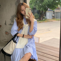 Dress Summer 2021 Blue black S M XL L Short skirt singleton  Short sleeve commute Polo collar High waist stripe Single breasted Pleated skirt routine Others 18-24 years old Type A Ming Meiting Korean version More than 95% other other Other 100% Pure e-commerce (online only)