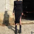 Dress Autumn 2020 black S,L,M longuette singleton  Long sleeves commute Crew neck High waist Solid color Socket A-line skirt routine Others Stitching, lacing, pleating, pleating 51% (inclusive) - 70% (inclusive) other cotton