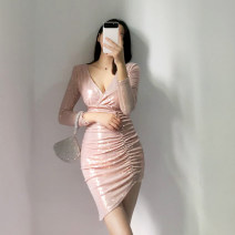 Dress Autumn of 2019 Skin pink S,M,L Short skirt singleton  Long sleeves street V-neck High waist Solid color zipper Irregular skirt routine Others 25-29 years old Type X 51% (inclusive) - 70% (inclusive) other polyester fiber Europe and America