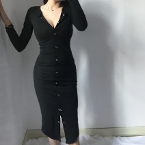 Dress Autumn of 2019 black S,M,L Short skirt singleton  Long sleeves street V-neck High waist Solid color Socket Irregular skirt other Others Type X 51% (inclusive) - 70% (inclusive) brocade cotton Europe and America