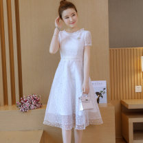 Dress Summer 2021 white S,M,L,XL singleton  Long sleeves commute Crew neck High waist Solid color zipper A-line skirt routine Others 18-24 years old Type H Other / other Lace cotton