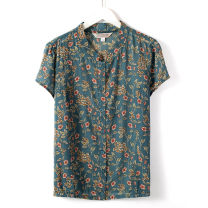 Middle aged and old women's wear shirt routine Single breasted Short sleeve 50-59 years old Summer 2020 leisure time easy singleton  Cardigan Design and color 81% (inclusive) - 90% (inclusive) Flax, cotton Crew neck routine Blue, red, green L,XL,2XL,3XL,4XL