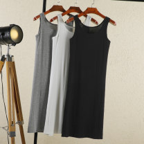 Dress Summer 2021 M,L,XL,2XL Mid length dress singleton  Sleeveless commute Crew neck low-waisted Solid color Socket Big swing other camisole 18-24 years old Type A Rimehouse Korean version 30% and below other nylon
