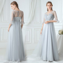 Dress / evening wear coming-of-age ceremony 04,06,08,10,12,14,16,18,20,22,24,26 Gray, this is custom-made (only for non refundable) High waist Spring 2020 Self cultivation Polyester (polyester) 26-35 years old three quarter sleeve
