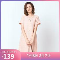 Dress Summer of 2018 Navy, off white, light orange S,M,L,XL Mid length dress singleton  Short sleeve Sweet V-neck Others 25-29 years old Cloth scene Ruili