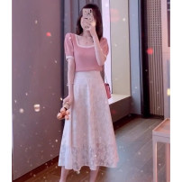 Women's large Summer 2020 Pink top + skirt S M L XL Knitwear / cardigan Two piece set Sweet Self cultivation Socket square neck routine Three dimensional cutting XX0006 Fort Landau 18-24 years old Medium length Polyester 100% Pure e-commerce (online only) Princess Dress college