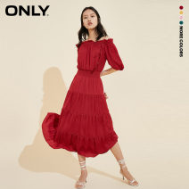 Dress Summer 2020 155/76A/XS 160/80A/S 165/84A/M 170/88A/L 175/92A/XL Mid length dress singleton  Short sleeve Sweet One word collar High waist Solid color Socket A-line skirt other 18-24 years old ONLY tassels More than 95% Chiffon polyester fiber Polyester 100% Ruili