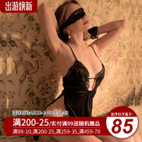 Nightdress Mrs song Black, white, light champagne M, L sexy camisole pajamas Short skirt Solid color V-neck Polyester (polyester) lace More than 95% polyester fiber SY177HS