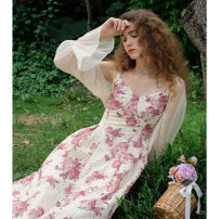 Fashion suit Spring 2021 S. M, l, average size Pearl apricot cardigan, secret garden apricot suspender skirt, secret garden apricot suspender skirt pre-sale, secret garden apricot suspender skirt batch 3 pre-sale 18-25 years old 96% and above cotton