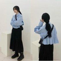 Square Dance Top Blue shirt, black skirt, blue shirt + black skirt S,M,L,XL female Long sleeves bishop sleeve Two piece set other