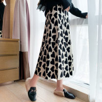 skirt Winter 2020 Each size is 130-80 kg black longuette commute High waist A-line skirt Dot Type A 25-29 years old JM8068 More than 95% knitting Han Shangjin other printing Simplicity Other 100%