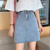 skirt Summer 2020 S M L XL 2XL blue Short skirt commute High waist A-line skirt Solid color Type A 18-24 years old YF9813 Denim Myshangyi cabinet Three dimensional decorative cloth for pocket Korean version Pure e-commerce (online only)