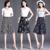 Casual pants Black blue background flower daisy Peony 27/M 28/L 29/XL 30/2XL 31/3XL 32/4XL Summer 2020 Pant Wide leg pants High waist commute Thin money QQE16262669-009 Qian Qien other pocket Polyester 90% other 10% Pure e-commerce (online only)