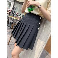 skirt Summer 2021 S M L Black grey Short skirt Versatile High waist Pleated skirt Solid color A4365 71% (inclusive) - 80% (inclusive) John Ratzenberger  polyester fiber Polyester 72% viscose 28% Pure e-commerce (online only)