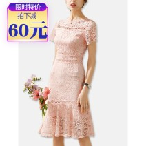 Dress Summer 2020 Blue, black, pink S,M,L,XL Mid length dress singleton  Short sleeve commute Crew neck High waist Solid color Socket A-line skirt routine Others 25-29 years old Type A Ol style