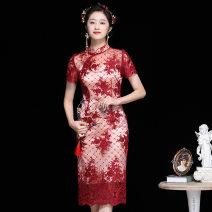 cheongsam Spring 2021 S,M,L,XL Bright red Short sleeve OYCP