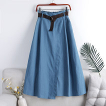 skirt Summer 2021 201g / m ^ 2 (including) - 250G / m ^ 2 (including) Medium length skirt High waist belt A-line skirt 71% (inclusive) - 80% (inclusive) Versatile polyester fiber Solid color 18-24 years old Type A other One size fits all Light blue, dark blue
