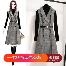 Dress Winter 2020 black suit  S M L XL Mid length dress Two piece set Long sleeves commute tailored collar High waist houndstooth  double-breasted A-line skirt routine Others 18-24 years old Bihui (clothing) Korean version Strap button zipper More than 95% other Other 100% Exclusive payment of tmall
