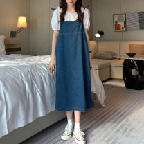 Dress Summer 2020 blue Average size longuette singleton  Sleeveless Sweet One word collar Loose waist Solid color Socket A-line skirt other 18-24 years old Type A Besto pocket More than 95% cotton Cotton 100% solar system Pure e-commerce (online only)