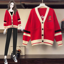 Women's large Autumn 2020 Off white grey red XL suggests about 120-140 Jin, 2XL suggests about 140-160 Jin, 3XL suggests about 160-180 Jin, 4XL suggests about 180-200 Jin, l suggests about 100-120 Jin sweater singleton  commute easy thick Cardigan Long sleeves stripe V-neck routine routine Button