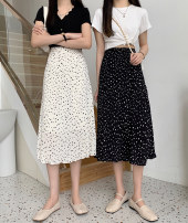 skirt Summer 2021 Average size Black apricot Middle-skirt commute Natural waist A-line skirt Dot Type A 18-24 years old More than 95% Xianghanya other Lotus leaf edge Korean version Other 100% Pure e-commerce (online only)