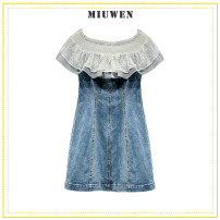 Dress Spring 2021 blue S,M,L,XL Short skirt singleton  Short sleeve Sweet One word collar High waist Solid color zipper One pace skirt routine Others Type H Make old , Button , Gauze , Splicing More than 95% other other Ruili