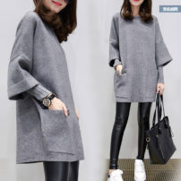 Sweater / sweater Winter 2020 Pink grey M L XL 2XL 3XL 4XL Long sleeves routine Fake two pieces Plush Crew neck commute raglan sleeve Leia Butterfly Retro cotton