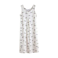 Nightdress Tongues Women's z1354 160(M) 165(L) 170(XL) Simplicity Sleeveless Leisure home longuette summer Plants and flowers youth V-neck cotton printing More than 95% pure cotton Z1354 200g and below Summer 2021 Cotton 100% Pure e-commerce (online only)