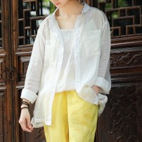 shirt White, light blue M, L Summer of 2018 hemp 96% and above Long sleeves commute Regular Single row multi button routine Solid color 30-34 years old Straight cylinder literature pocket