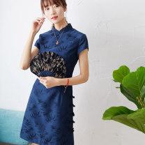 Dress Summer 2021 Short skirt singleton  Short sleeve commute stand collar High waist Solid color zipper routine Class 77 Retro Button, jacquard 71% (inclusive) - 80% (inclusive) silk