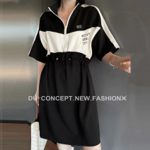 Dress Spring 2021 Black, collection plus purchase priority delivery S,M,L,XL Mid length dress singleton  elbow sleeve commute stand collar High waist Solid color Socket A-line skirt routine Hanging neck style 25-29 years old Type A Other / other Korean version Pocket, panel, zipper z.27.1914 other