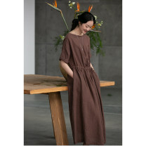 Dress Spring 2021 Mud Coffee S,M,L,XL longuette singleton  Long sleeves commute Crew neck Loose waist Solid color Socket Big swing routine Others 35-39 years old Type H Pastoral Tour Retro Pocket, embroidery 211FL218 More than 95% cotton