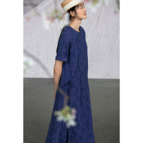 Dress Summer 2021 M, L Mid length dress singleton  elbow sleeve commute Crew neck Loose waist Solid color Single breasted routine Others 30-34 years old Type A Pastoral Tour Retro Pocket, embroidery 51% (inclusive) - 70% (inclusive) silk