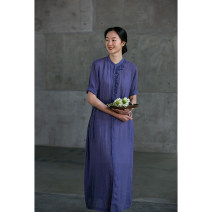 Dress Spring 2021 Grayish purple S,M,L,XL Mid length dress singleton  Short sleeve commute Crew neck Loose waist Solid color Socket routine Others 35-39 years old Type H Pastoral Tour Retro Embroidery, pocket 211XL268 More than 95% silk