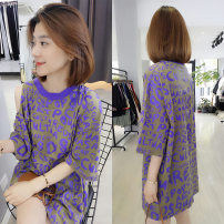 Dress Summer of 2019 Purple red S M L Short skirt singleton  Short sleeve street Crew neck Loose waist letter Socket A-line skirt routine Others 30-34 years old Type H Fanlis More than 95% cotton Cotton 100% Pure e-commerce (online only) Europe and America
