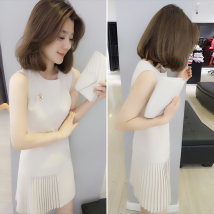 Dress Summer of 2018 Off white red XSSML Short skirt singleton  Sleeveless street Crew neck High waist Solid color Socket A-line skirt routine Others 30-34 years old Fanlis F181n00479p Polyester 90% other 10% Pure e-commerce (online only) Europe and America