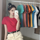 T-shirt White black green lake blue yellow (candy color, there will be some color difference, can contact customer service, first understand the color) pink taro purple big red shallow water blue M L XL XXL Summer 2021 Short sleeve Crew neck Self cultivation polyester fiber Xinlili 3D make old flower