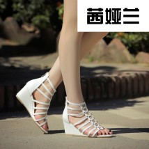 Sandals three hundred and forty-three billion five hundred and thirty-six million three hundred and seventy-three thousand eight hundred and thirty-nine Black and white Sialan top layer leather Barefoot Slope heel High heel (5-8cm) Summer 2017 Youth (18-40 years old) Slope heel --&876-1