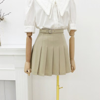 skirt Spring 2021 S,M,L Khaki, black Short skirt Versatile High waist Pleated skirt Solid color Type A 30% and below other polyester fiber