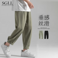 Casual pants Time Lulu Youth fashion M L XL 2XL 3XL 4XL 5XL thin trousers Travel? easy Micro bomb summer youth tide 2021 middle-waisted Little feet Polyester 97% polyurethane elastic fiber (spandex) 3% Sports pants Hem at hem washing Solid color Fine canvas polyester fiber Summer 2021 More than 95%