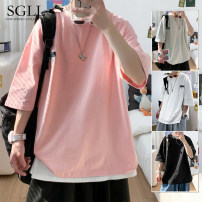 T-shirt Youth fashion Pink white black grey routine M L XL 2XL 3XL Time Lulu elbow sleeve Crew neck easy daily spring W2021141934 Polyester 100% youth routine tide Rib  Spring 2021 Alphanumeric Sticking cloth polyester fiber Abstract pattern No iron treatment Fashion brand Exclusive payment of tmall