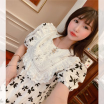 Dress Summer 2020 white Average [spot delivery], average [reservation for 4-7 days], average [reservation for 7-15 days] Mid length dress Short sleeve commute puff sleeve Ol style IMG_ three thousand eight hundred and seventy-three 81% (inclusive) - 90% (inclusive) cotton