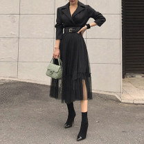 Dress Spring 2021 black S,M,L,XL Mid length dress singleton  Long sleeves commute tailored collar High waist Solid color other Pleated skirt routine Others Type H Korean version 51% (inclusive) - 70% (inclusive) other