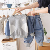 suit Menger Beibei Picture color 90cm,100cm,110cm,120cm,130cm,140cm,150cm neutral spring and autumn leisure time Long sleeve + pants 2 pieces Thin money There are models in the real shooting Socket nothing stripe cotton children Giving presents at school Chinese Mainland Zhejiang Province