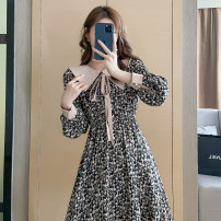 Dress Summer 2021 Decor S M L XL Short skirt singleton  Long sleeves commute other High waist Decor zipper A-line skirt routine 18-24 years old Type A Qinze language Korean version DQZY - four hundred and two 71% (inclusive) - 80% (inclusive) polyester fiber Polyester 80% other 20%