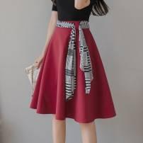 skirt Spring 2021 S,M,L,XL,2XL Black, red Middle-skirt High waist Umbrella skirt Frenulum
