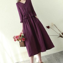 Dress Spring 2021 Purple [high quality fabric] , Blue [high quality fabric] , Green [high quality fabric] , Orange [high quality fabric] , Dark red [high quality fabric] Mid length dress singleton  Nine point sleeve commute V-neck Loose waist routine Others Panel, button, solid color other cotton