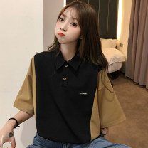 Dress Spring 2020 Black apricot M L XL Mid length dress singleton  Short sleeve commute Polo collar Loose waist letter Socket other routine Others 18-24 years old Graceful rabbit Korean version 51% (inclusive) - 70% (inclusive) polyester fiber Pure e-commerce (online only)